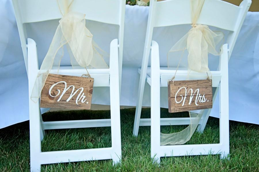 Mr And Mrs Wedding Chair Signs-- Rustic Wedding Chair Signs- Wedding ...
