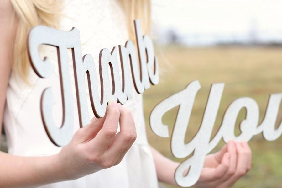 Mariage - Rustic Chic Thank You Sign Rustic Elegance Gold Glitter Thank You Signs Wedding Thank You Photoprop Sign