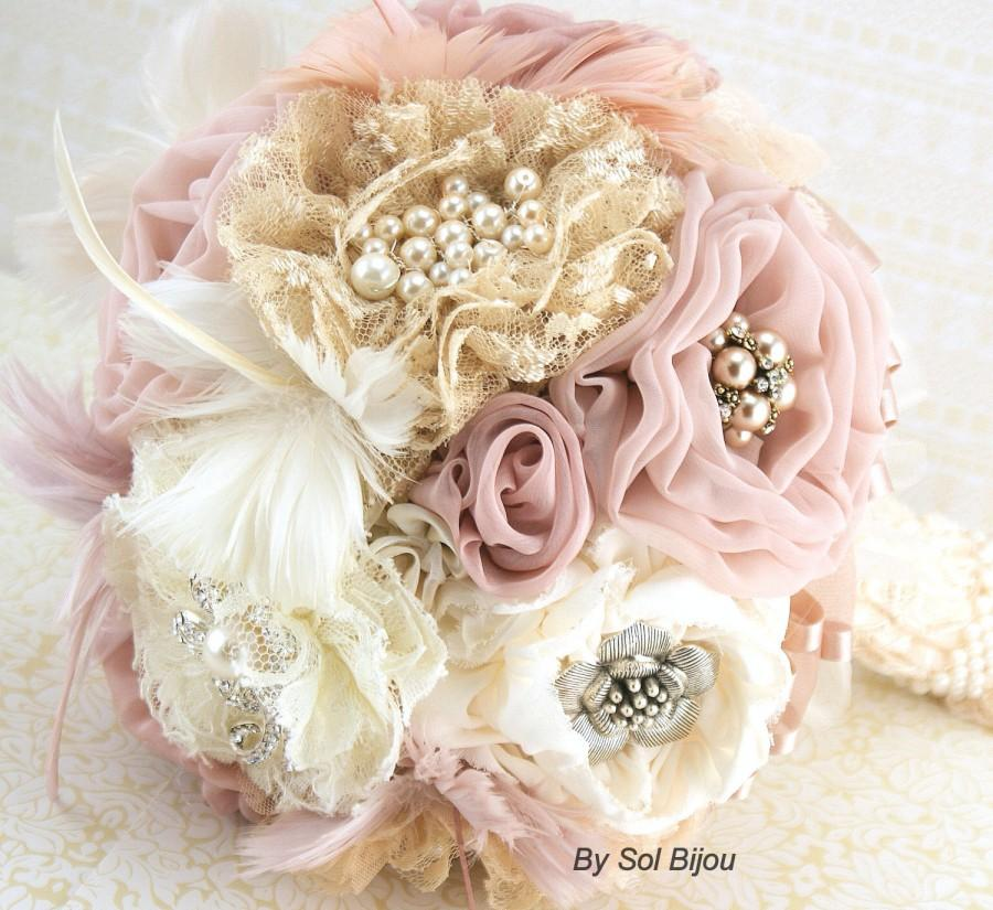Brooch Bouquet Rose Quartz Blush Ivory Gold Champagne Dusty Vintage Style Elegant Wedding Feather Lace