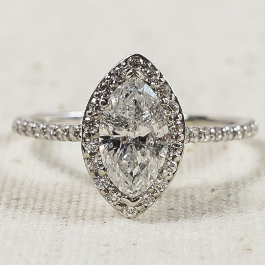 Mariage - Exquisite Modern 14K White Gold 1.00ct Marquise Cut I1/I  Diamond Halo Ladies Engagement Ring Size 7.25 - 2.1 grams FREE SHIPPING!