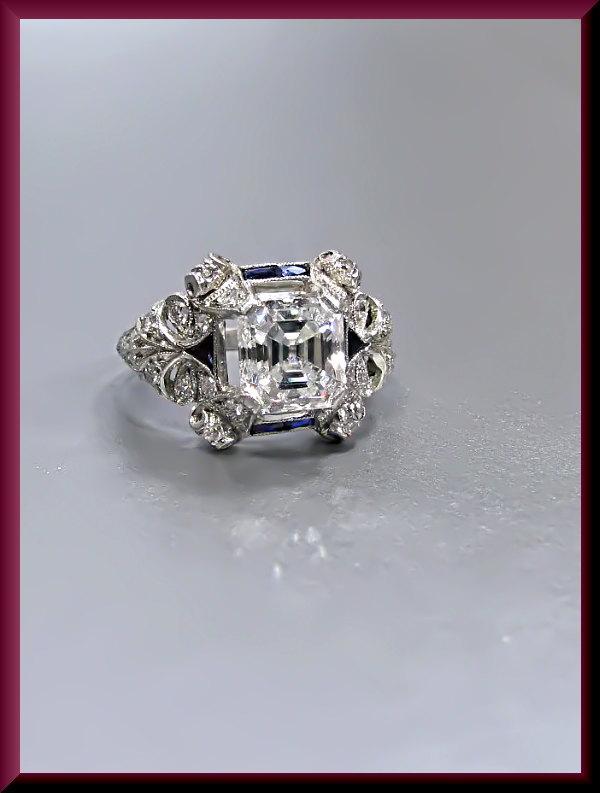 Antique Vintage Art Deco Platinum Asscher Cut Diamond Engagement Ring Wedding Ring 2521447 Weddbook