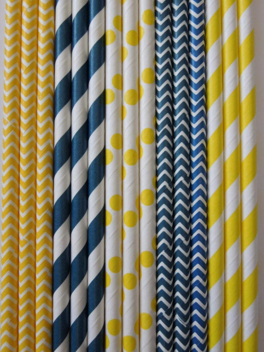 Mariage - 50 Navy Blue & Yellow Paper Straws Navy and Yellow Stripes Dots Chevron DiY Flags Wedding Kids Ladybug Birthday Baby Shower Mason Jar Straws