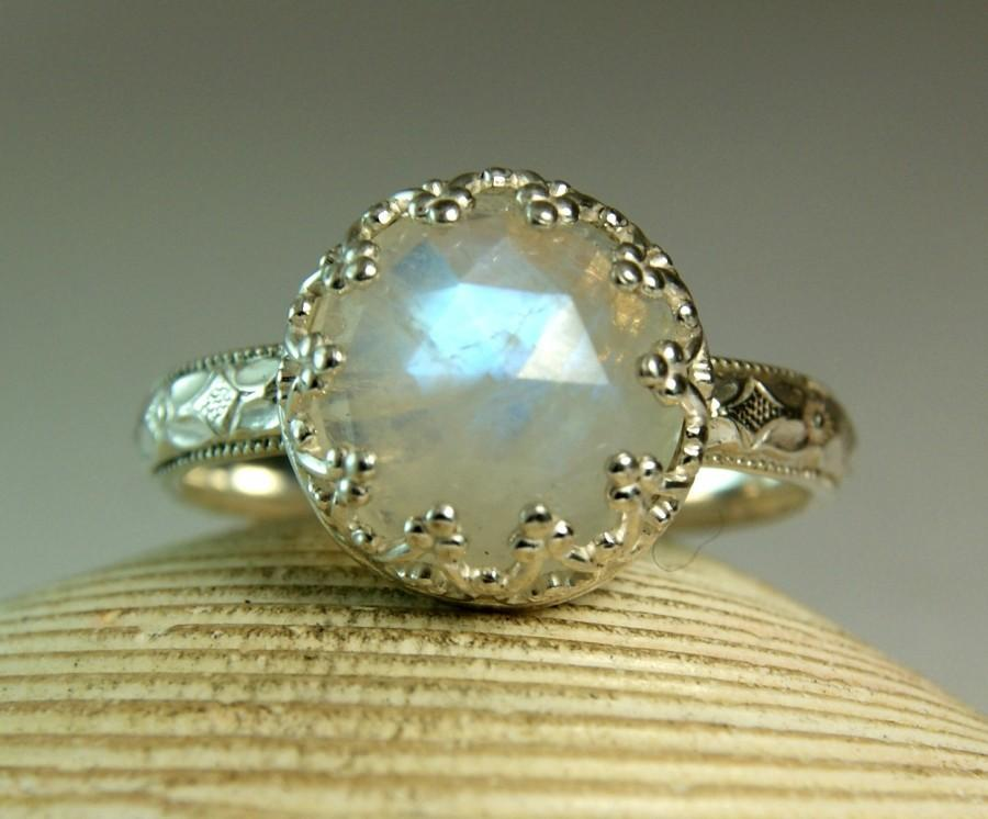 Wedding - Sterling Rainbow Moonstone Ring, June Birthstone, Fancy Bezel Setting, Rose Cut Moonstone