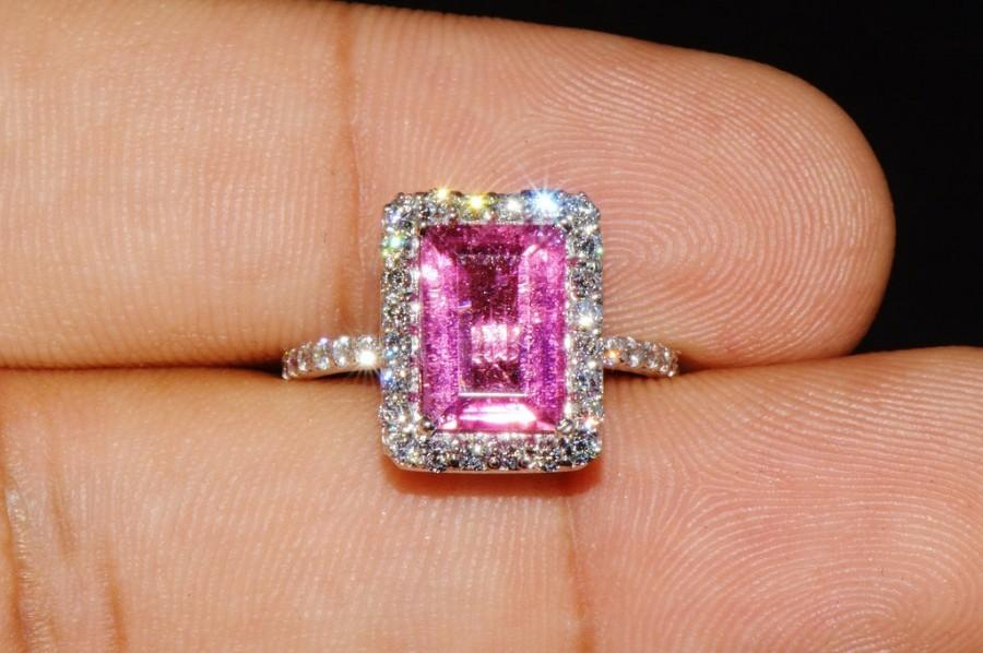 Mariage - CERTIFIED natural unheated 3CTS VS F diamond pink tourmaline 18k solid gold halo anniversary engagement ring band