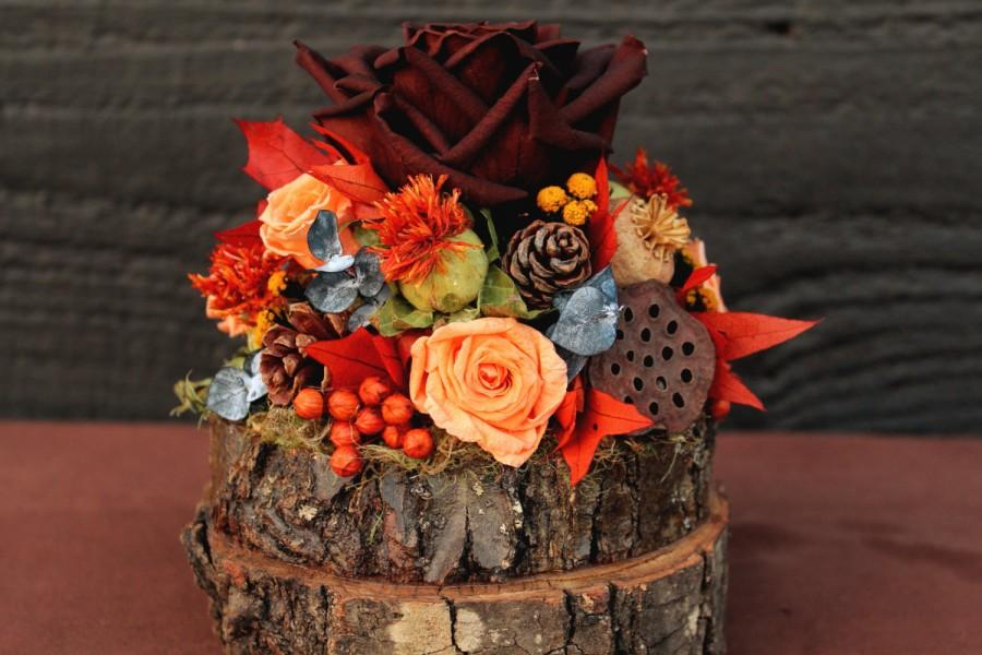 Rustic autumn wedding cake topper woodland cake topper for Autumn cake decoration