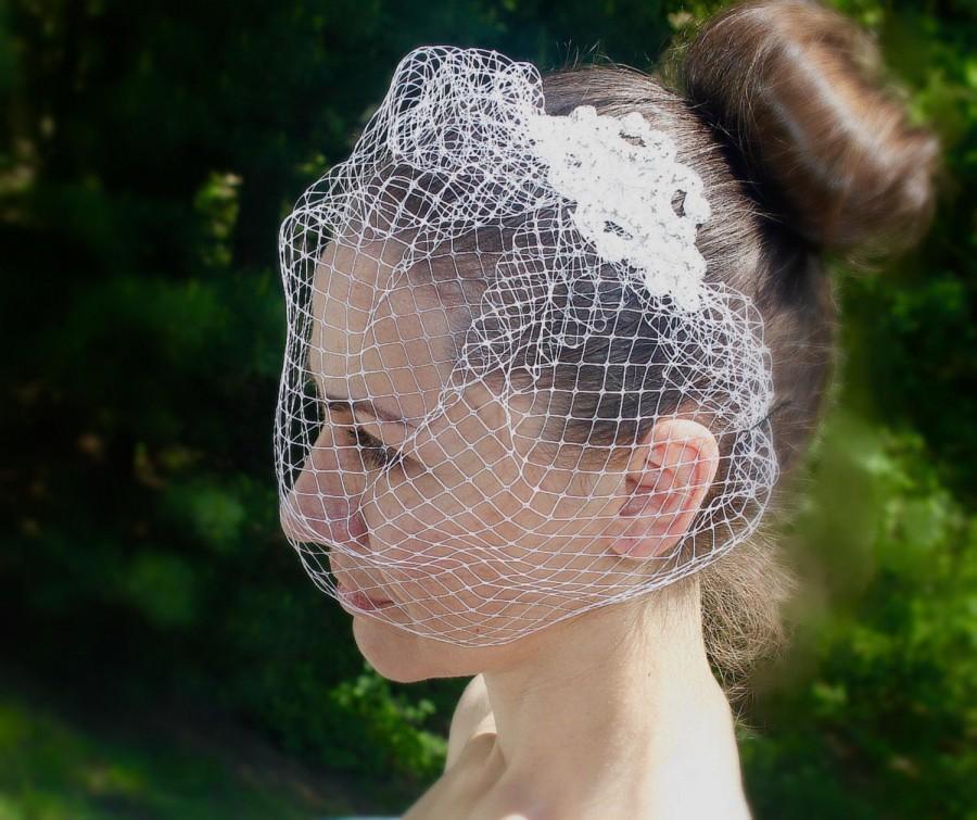 Mariage - Birdcage Veil, Bridal Veil, Bridal Comb, Blusher Birdcage Veil, Wedding Birdcage Veil, Ivory Birdcage Veil