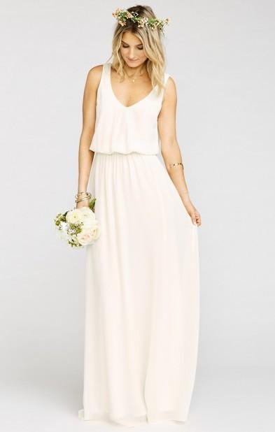Mariage - Kendall Maxi Dress ~ Wedding Cake Chiffon