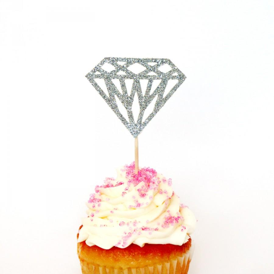 Mariage - Silver Glitter Diamond Cupcake Toppers - Birthdays, Parties, Weddings, Bachelorette, Baby Shower, Diamond Ring