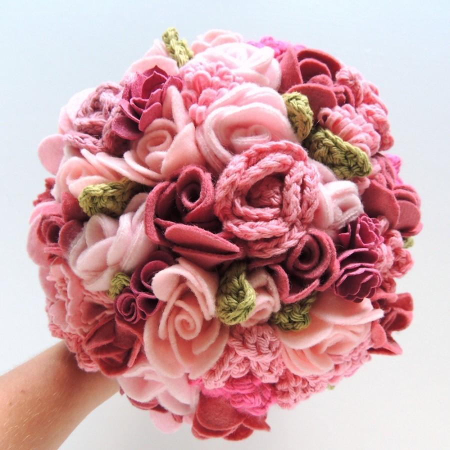 Hochzeit - Keepsake Bouquet - Pink and Blush Crochet and Felt Wedding Bouquet