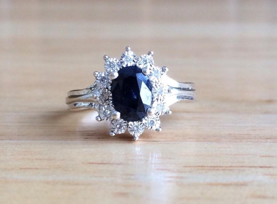 Wedding - Sapphire Engagement Ring - 14kt White Gold Diamond Halo - Size 5 3/4 Sizeable Alternative Wedding September Birthstone Antique Fine Jewelry