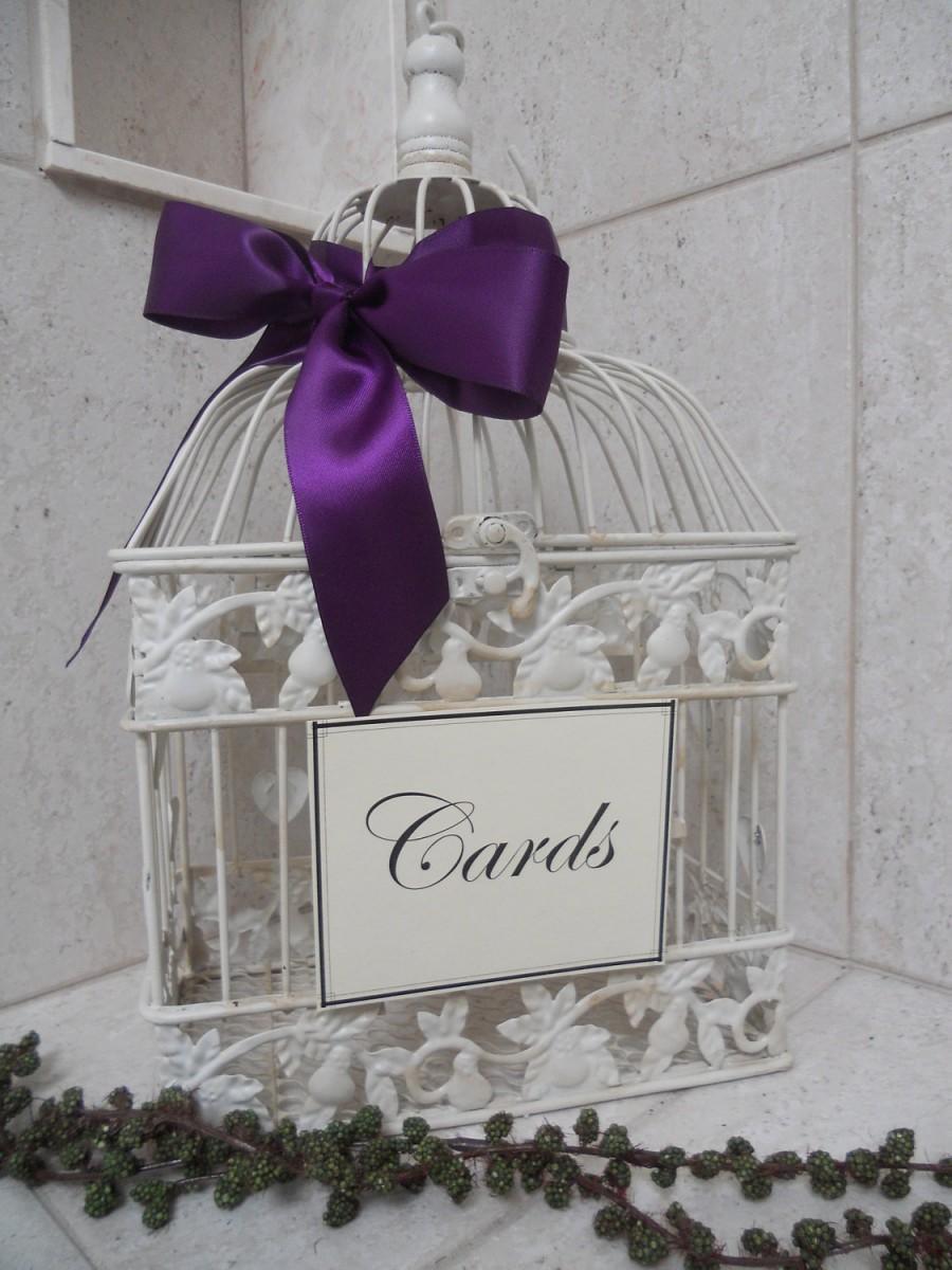 Hochzeit - DIY Shabby Ivory Birdcage Wedding Card Holder / Bird Cage Cardholder Wedding Decoration