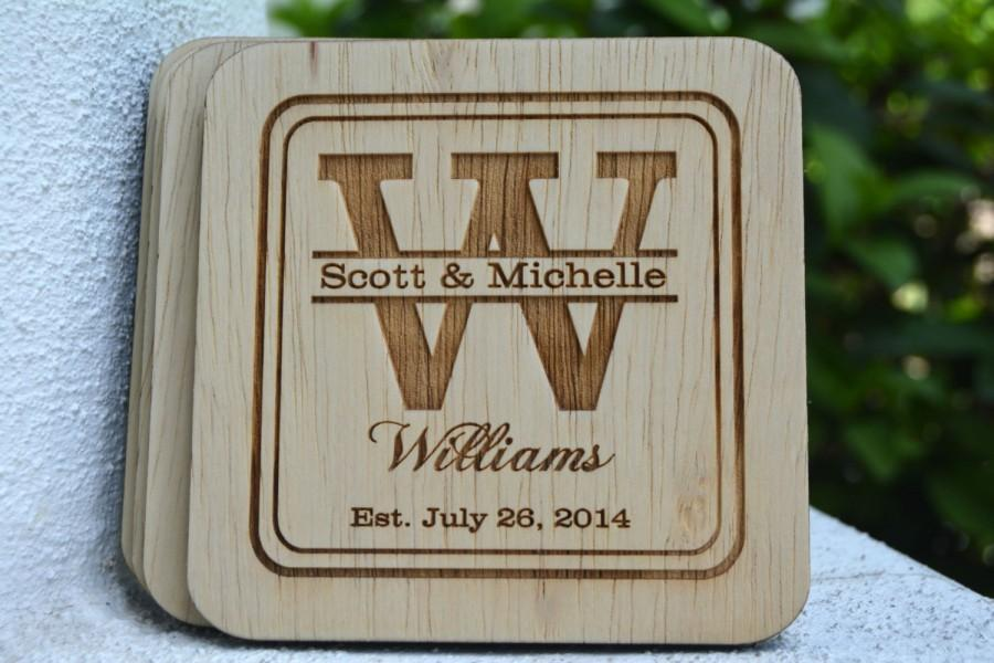 Personalized Coasters Wedding Favors Rustic Monogrammed Groomsmen Gifts Country Charm
