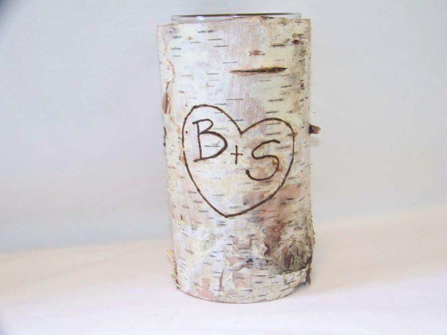 Hochzeit - Personalized Birch Bark Vase