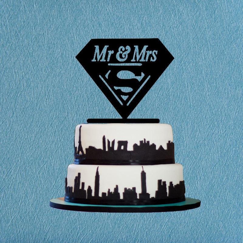 Mariage - Coustom Superman Cake Topper Mr & Mrs Wedding Cake Topper,Funny Supermen Cake Topper,Romantic Cake Topper For Wedding Decoration