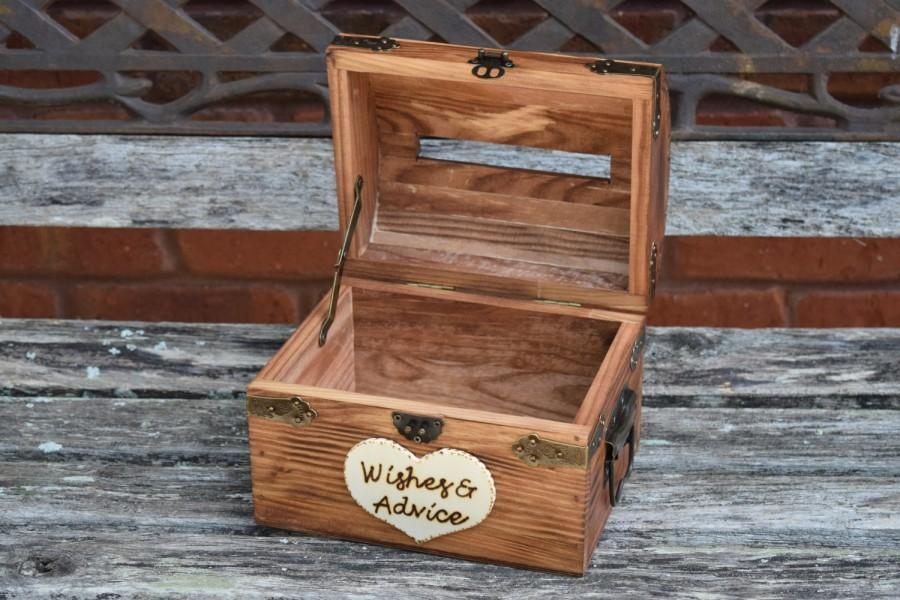 Mariage - Wedding Advice Box with Slit - Wedding Chest - Wishing Well - Wedding Guest Notes - Rustic Wedding - Shabby Chic Wedding Wedding Guest Book