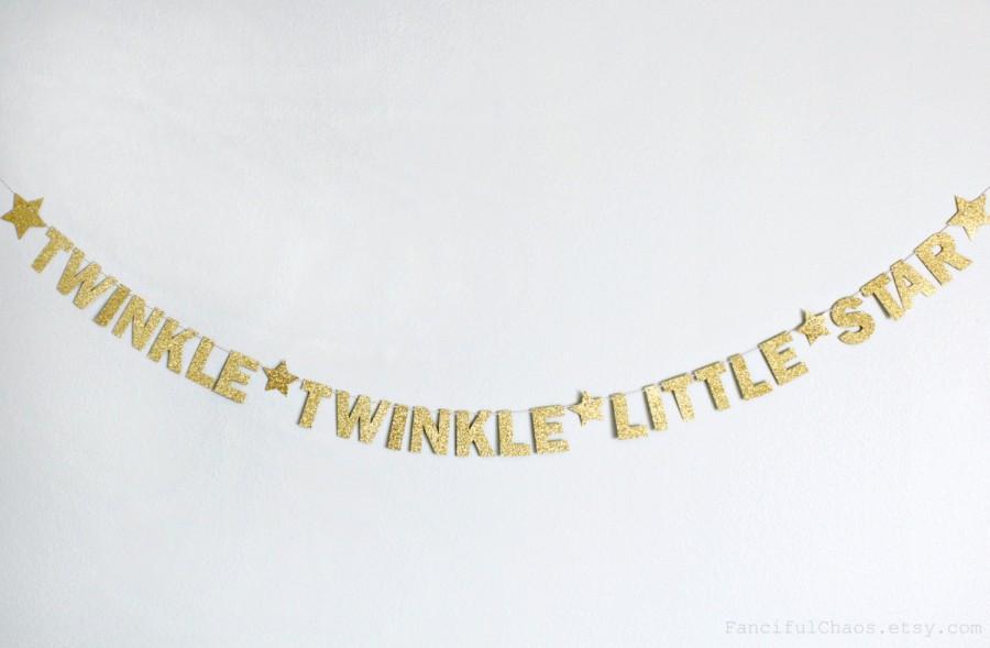 Mariage - Twinkle Little Star Gold Glitter Paper Banner Garland- Wedding, Birthday, Bridal Shower, Baby Shower, Party Decorations, Nursery Bedroom