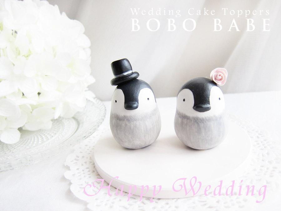 Mariage - Custom Wedding Cake Toppers - Love Penguins Baby