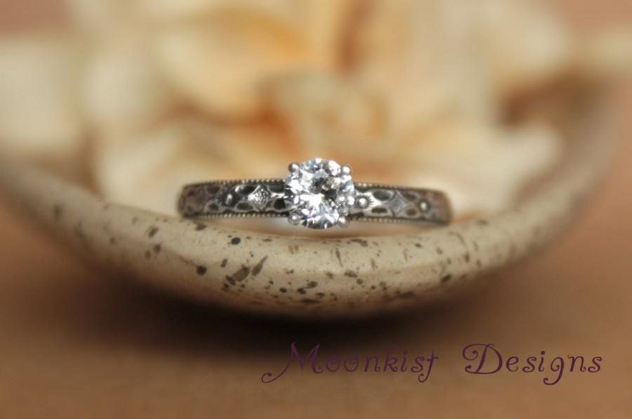 Wedding - Renaissance Diamond Pattern Solitaire Ring -White Sapphire Engagement Ring in Sterling -Geometric Wedding Ring, Commitment Ring,Promise Ring