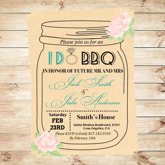 i do bbq invitation template mason jar invitation engagement