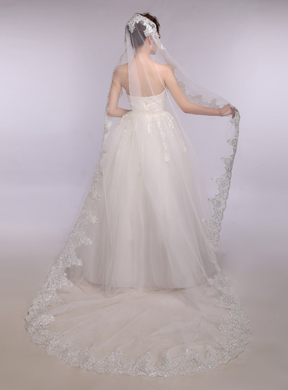 Nozze - Sequins Wedding Veil Ivory Bridal Veil Soft illusion Tulle Wedding Veil Lace Wedding Veil French Alencon Lace Crystal Veil