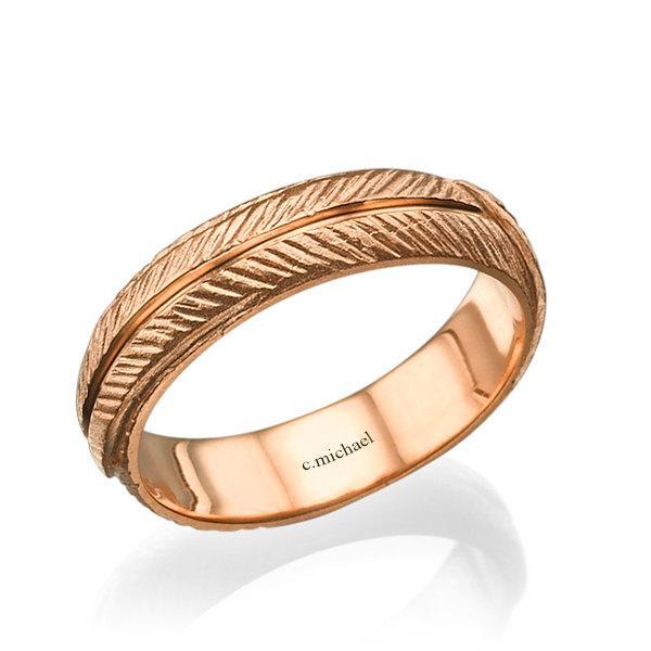 Wedding Ring Wedding Band Leaf Gold Ring Rose Gold Ring 14k