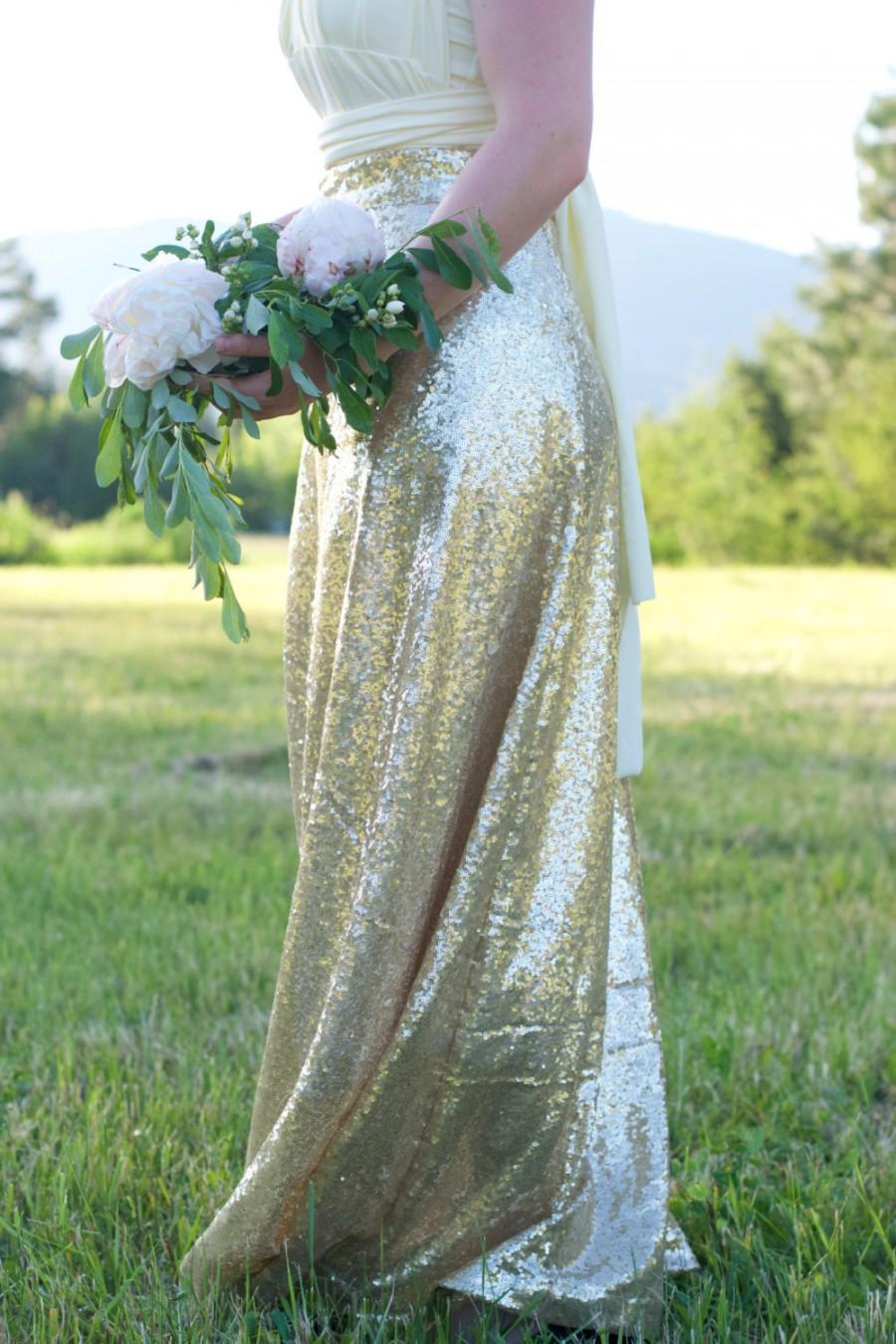 Starlight Champagne Ballroom Maxi Skirt // Gold Sequin Maxi Skirt ...
