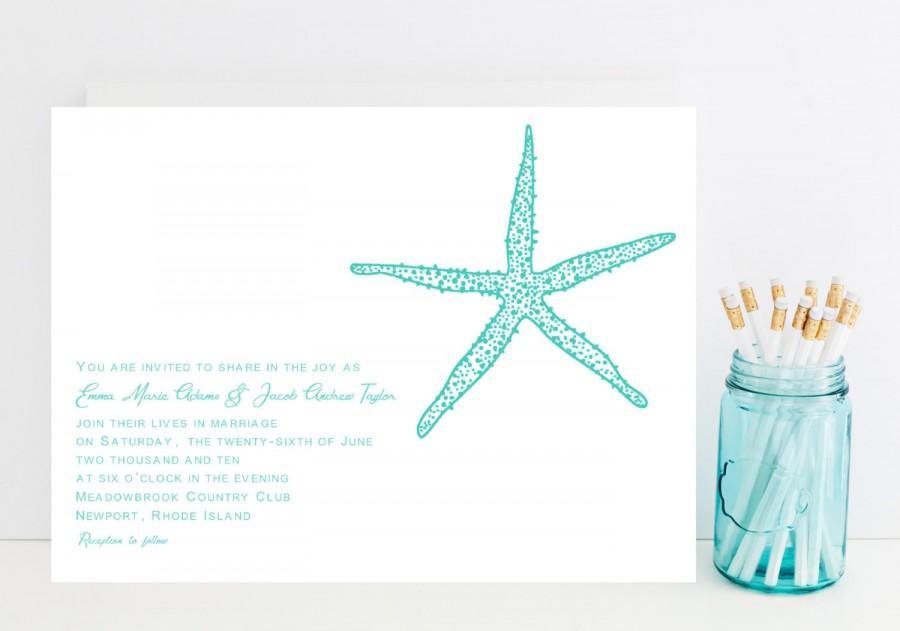 زفاف - Starfish Wedding Invitation - Ocean, Beach Wedding Invitations