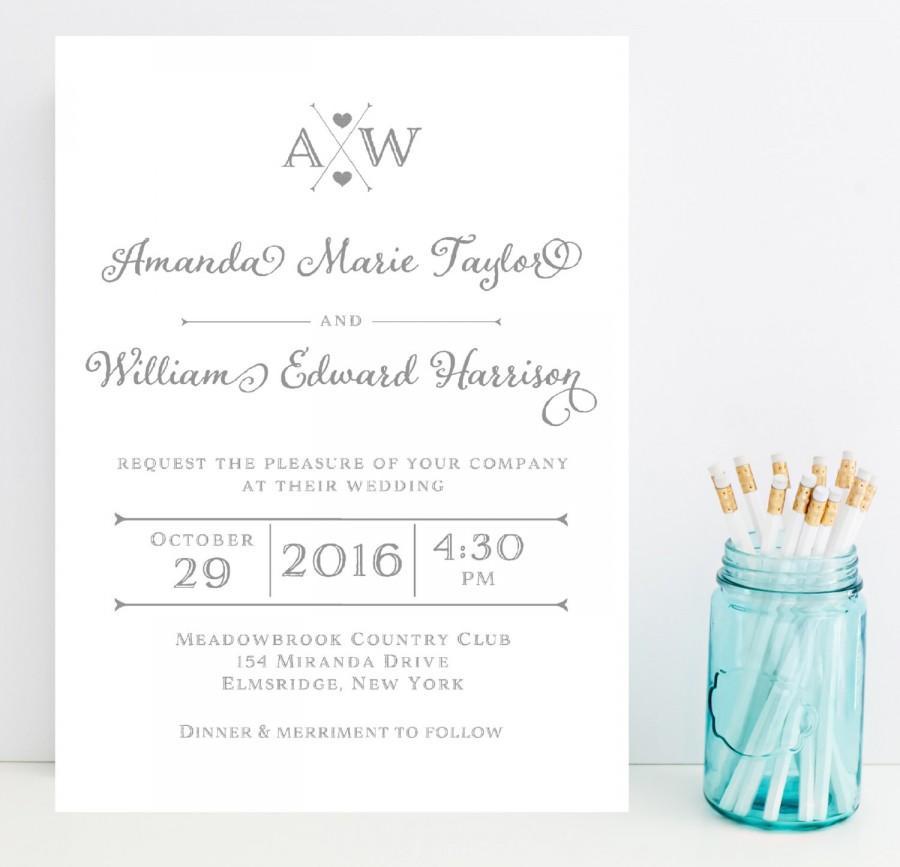 Hochzeit - Gray, Grey Wedding Invitation - Silver Wedding Invitation - Modern Wedding Invitation - Popular Wedding Invitation