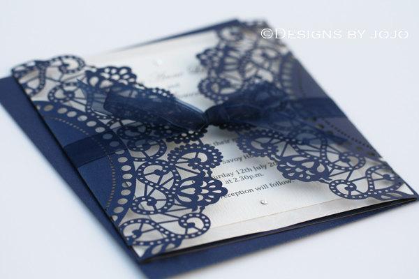 Mariage - Navy Blue Laser Cut Wedding Invitation