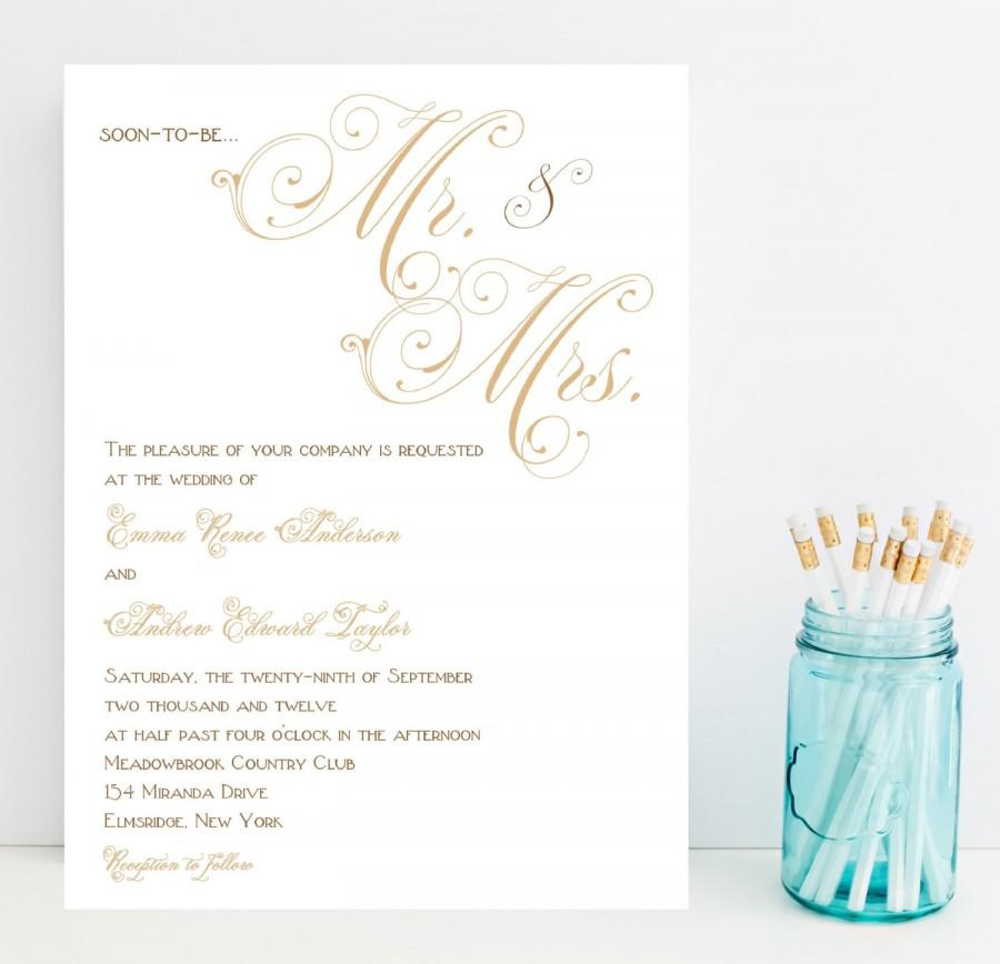Fancy Script Wedding Invitations - Gold, Taupe, Champagne Wedding ...