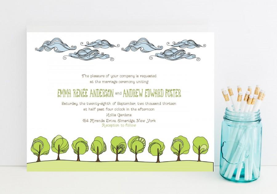 Wedding - Nature Wedding Invitations - Clouds, Trees, Grassy Theme - Outdoor Wedding Invitation