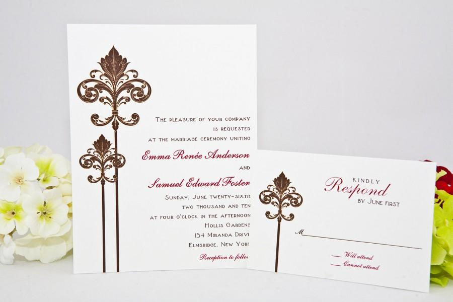 Fleur De Lis Wedding Invitation - New Orleans Wedding Invitation ...