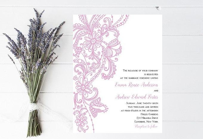 Wedding - Vintage Wedding Invitation, Lace Wedding Invitation, Elegant Wedding Invitation
