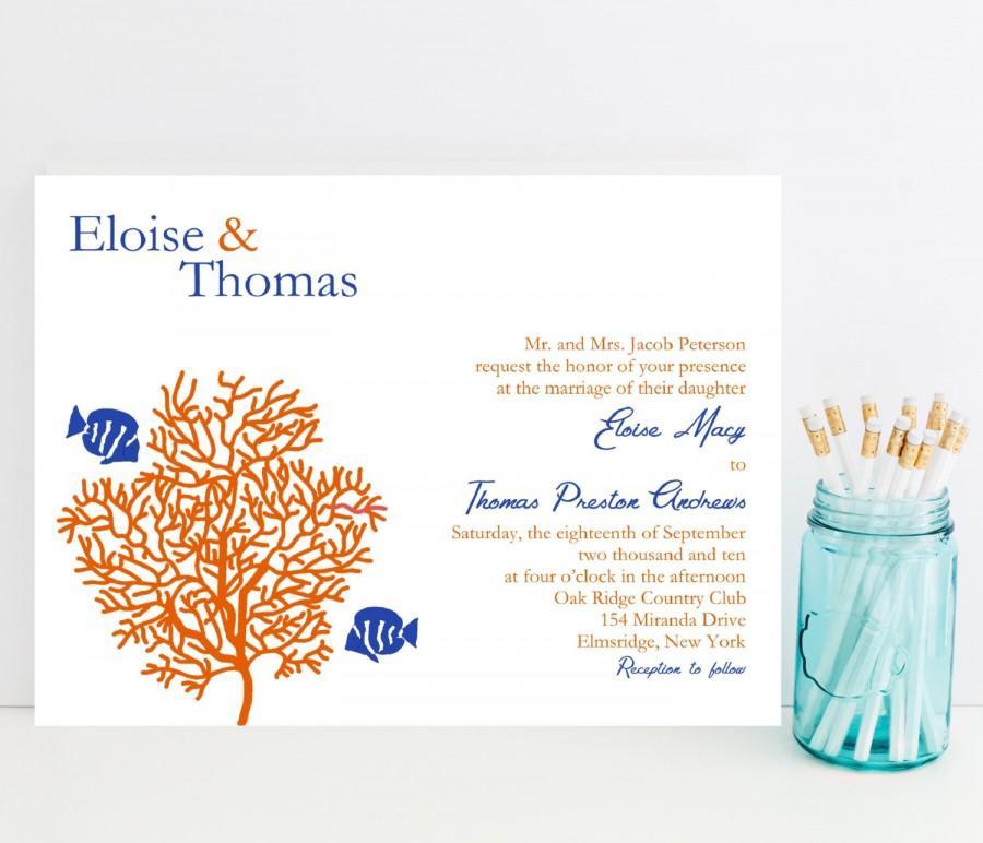 زفاف - Coral Reef Wedding Invitation - Tropical, Fish Theme Wedding Invitation