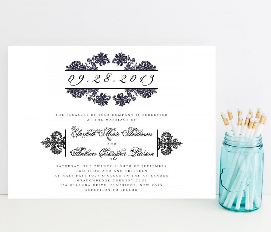Свадьба - Damask Wedding Invitation - Traditional Black and White Wedding Invitation