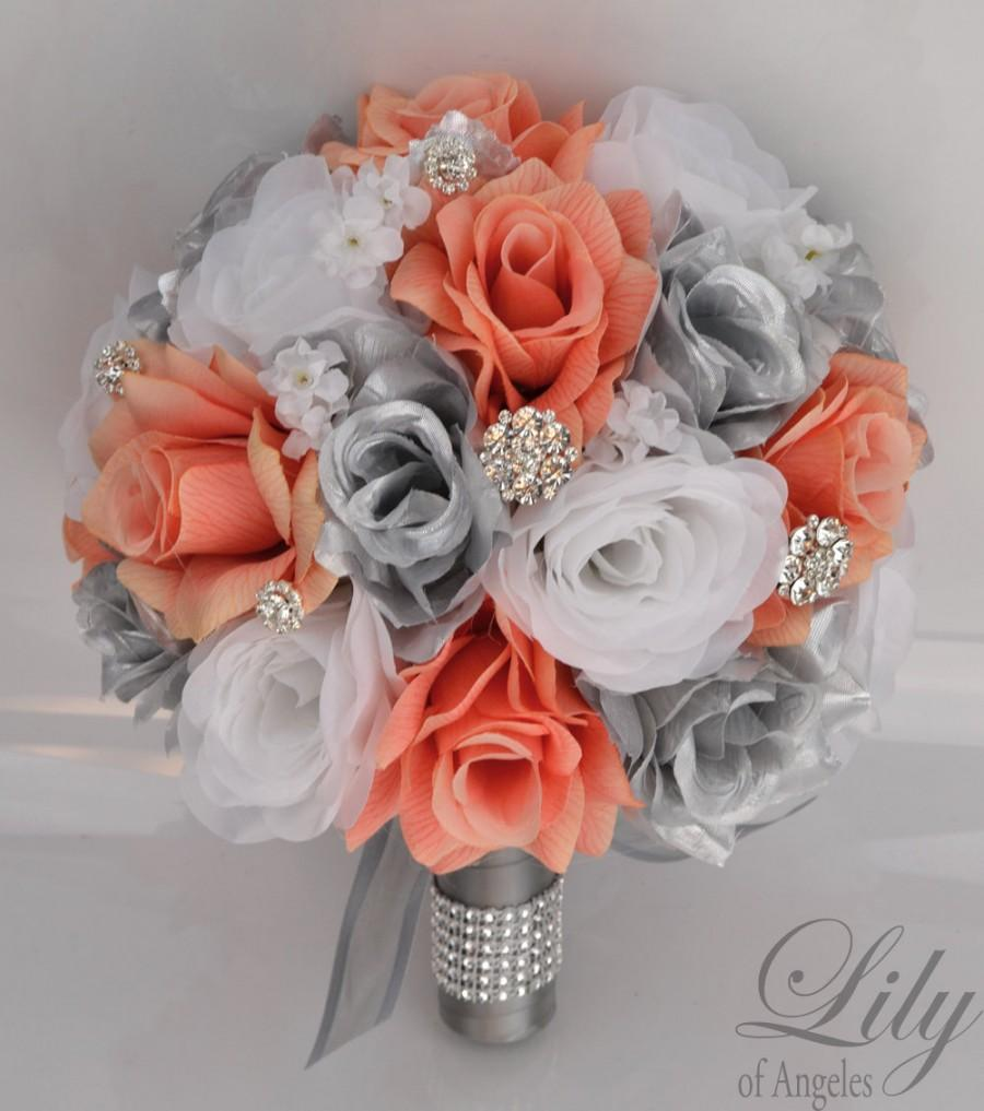 17 Piece Package Silk Flowers Wedding Bridal Bouquet Party Bride