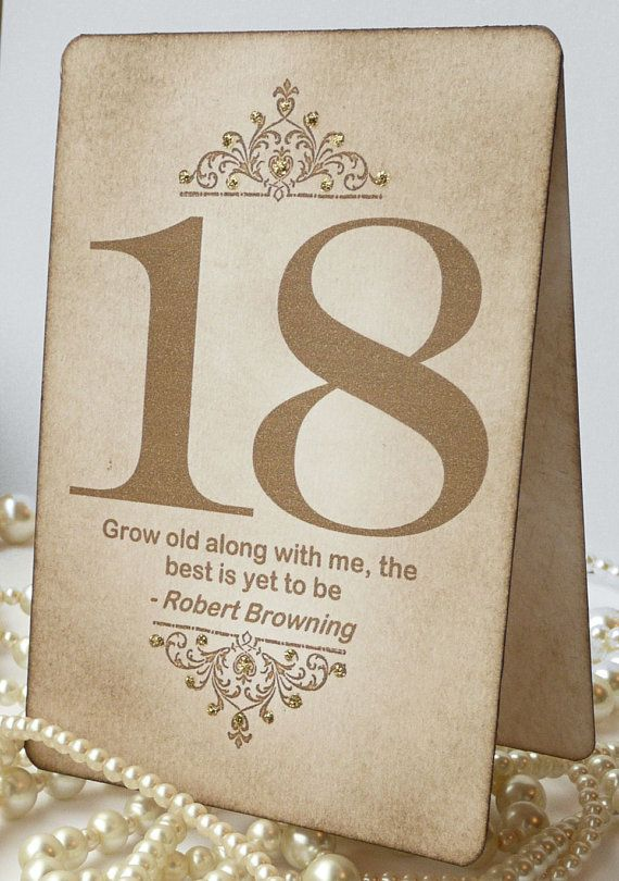 Gold wedding table numbers vintage quotes table numbers for Table quotes