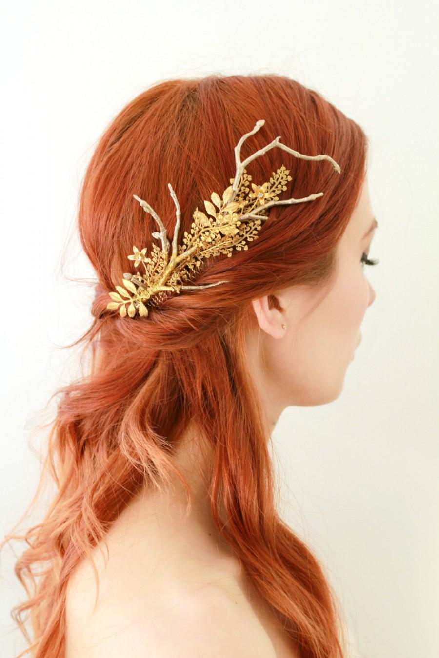 Mariage - Golden hair comb, gilded leaf comb, bridal headpiece, golden leaf headpiece, rustic wedding, boho bridal comb, woodland wedding hair comb