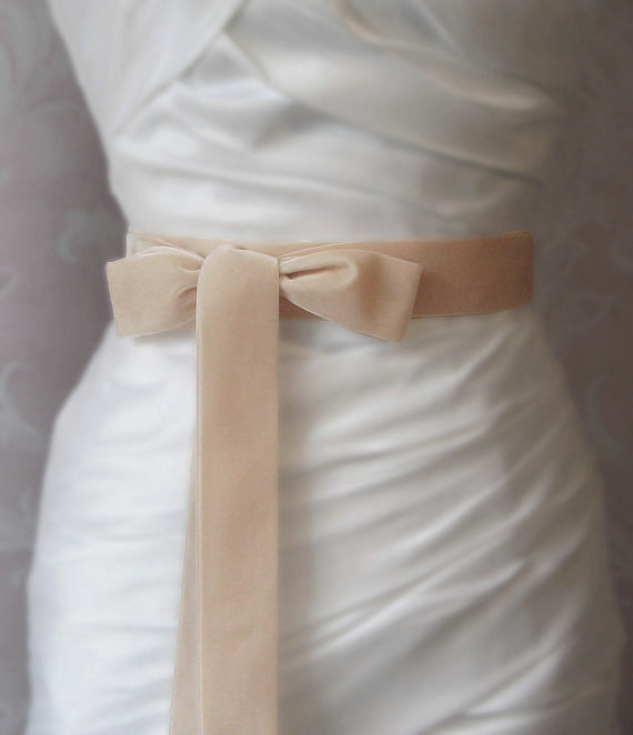 زفاف - Nude Velvet Ribbon, 1.5 Inches Wide, Pale Peachy Champagne Ribbon Sash, Dusty Apricot Bridal Sash, Wedding Belt, 4 Yards