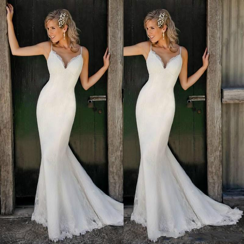 Beach spaghetti straps sleeveless boho wedding dresses for Backless boho wedding dress