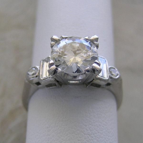Hochzeit - Vintage Engagement Ring Traditional Platinum Old European Cut Diamond Circa 1950