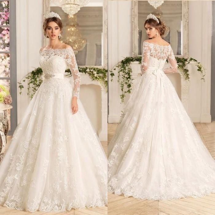 Discount 2016 Vintage Lace A Line Wedding Dresses Bateau: Vintage A Line Wedding Dresses 2016 Bateau Neck Sheer