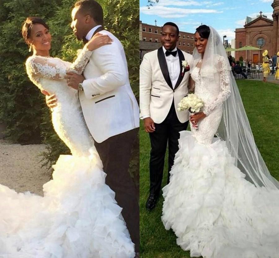 Exquisite Long Sleeves Appliques Lace Wedding Dresses 2016