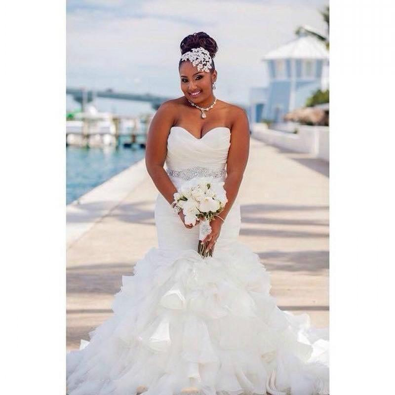 Stunning Mermaid Organza Plus Size Wedding Dresses Ruffles ...