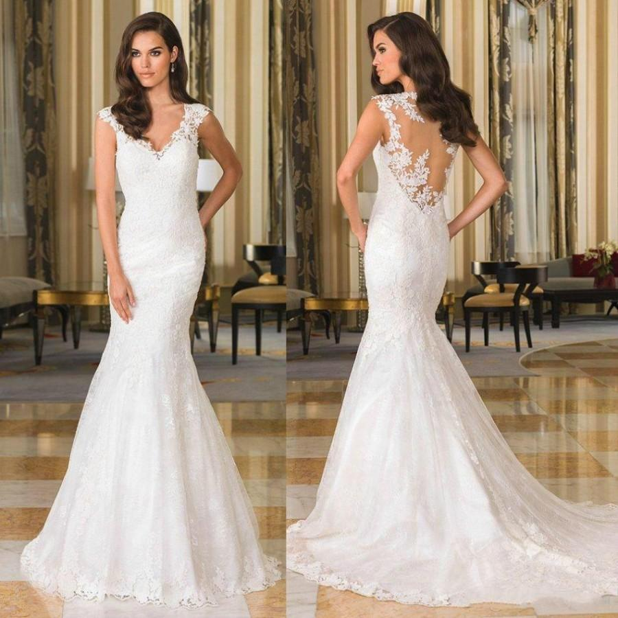 Wedding - Elegant Justin Alexande Mermaid Fitted Wedding Dresses V-Neck Applique Sheer Lace Illusion Back Train Vestido De Novia Bridal Dress Gowns Online with $106.29/Piece on Hjklp88's Store
