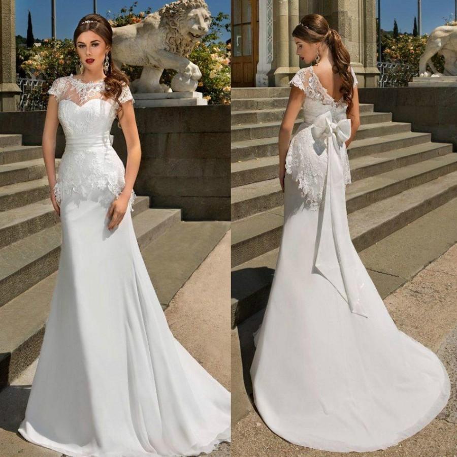 Vintage lace 2016 sheer wedding dresses cap sleeves big for Vintage lace wedding dress with sleeves