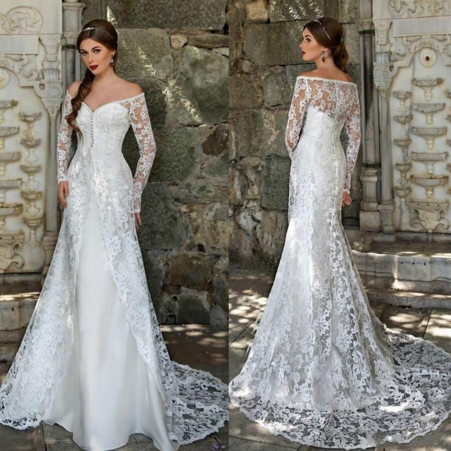 Bridal Lace Wedding Dresses With Long Sleeves Junoir