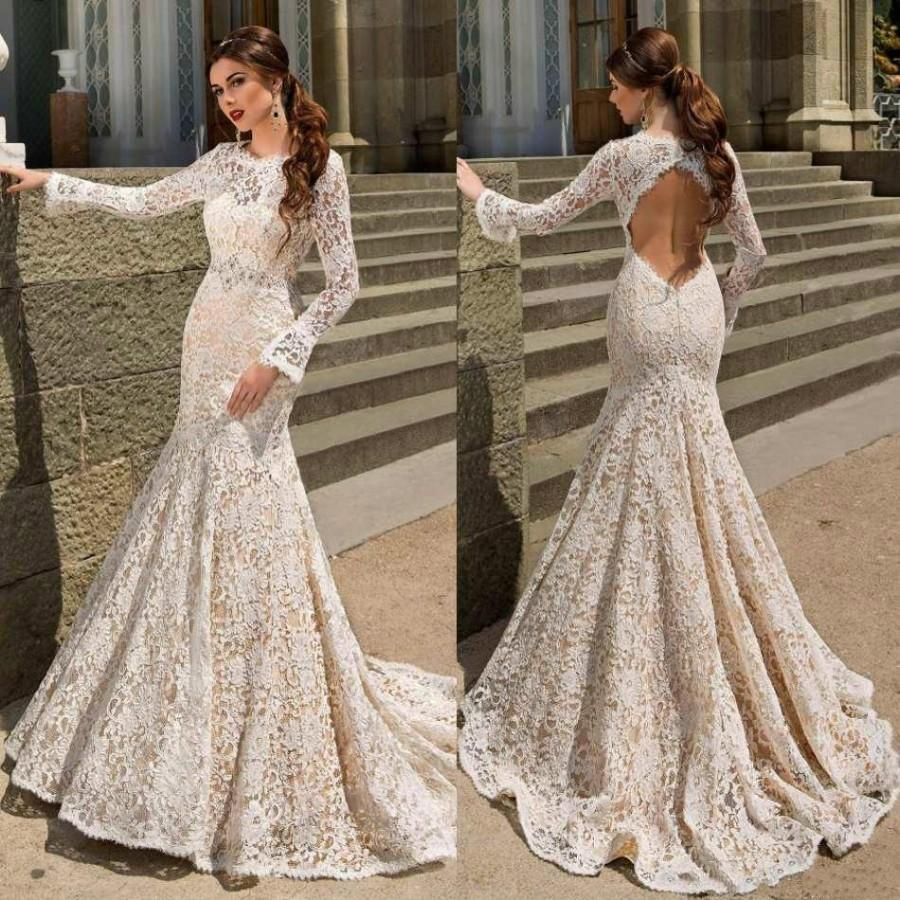 زفاف - Modest Mermaid Wedding Dresses Bodice Fitted Long Sleeve 2016 Hollow Back Trumpt Ivory Lace Sweep Train Bridal Dress Gowns Custom Online with $110.81/Piece on Hjklp88's Store