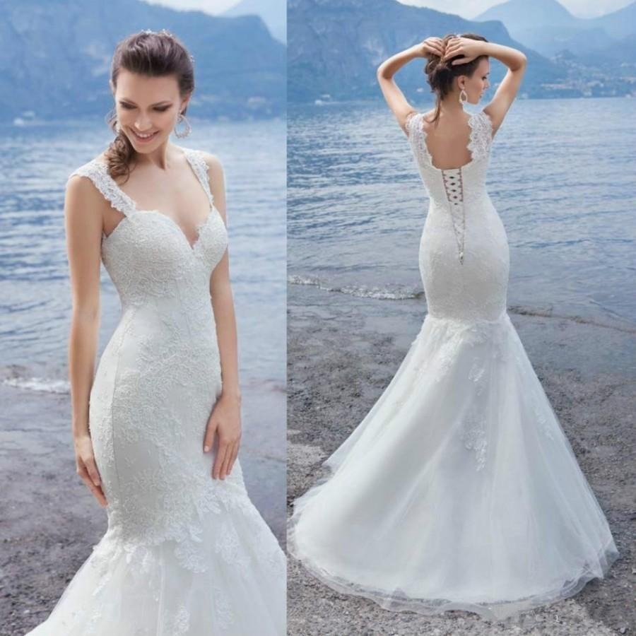 2016 Newest Mermaid Beach Wedding Dresses Spaghetti Neck Sleeveless Lace Wedding Gowns Sweep