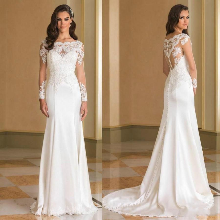Sheer Lace Long Sleeve Satin Mermaid Wedding Dresses: Charming Justin Alexande Wedding Dresses Jewel Neck